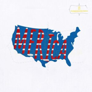 4th Of July USA Merica Map Embroidery Design