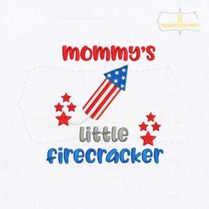 Mommys Little Firecracker Embroidery Design