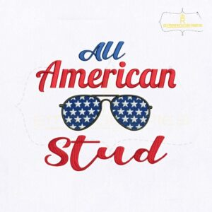 USA All American Stud Embroidery Design