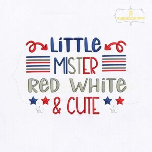 Little Mister Red White And Cute Embroidery Design