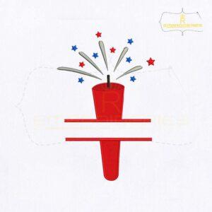 USA Red Firecracker Monogram Embroidery Design