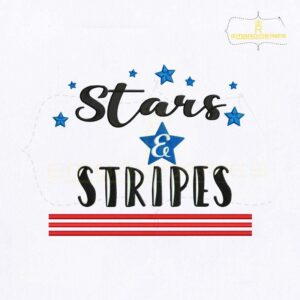 American Star Stripes Quote Embroidery Design