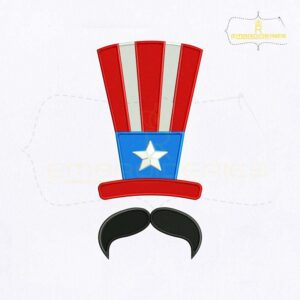 USA Hat And Mustache Embroidery Design