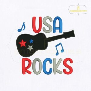 4th of July USA Guitar Rocks Embroidery Design