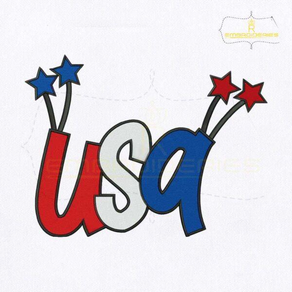 USA Letters Machine Embroidery Design
