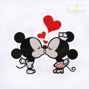 Valentines Day Mickey and Minnie Kiss Embroidery Design