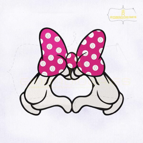 Minnie Mouse Heart Glove Embroidery Design