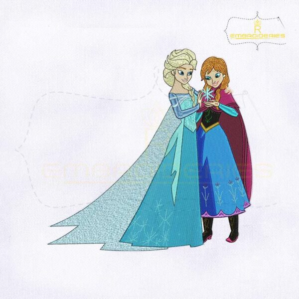 Frozen Princess Elsa And Anna Embroidery Design