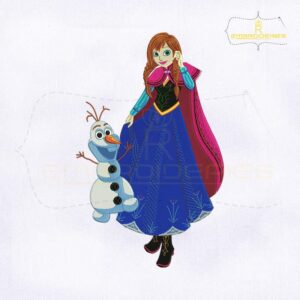 Frozen Princess Anna With Olaf Embroidery Design