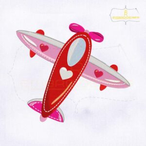 Valentine's Day Flying Jet Embroidery Design