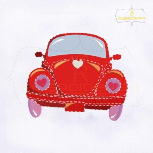 Valentine's Day Red Vintage Car Embroidery Design