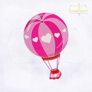 Valentine's Day Hot Air Balloon Embroidery Design