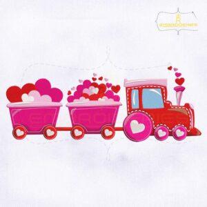 Pretty Pink Valentine's Day Train Embroidery Design