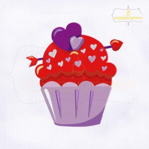 Valentine's Day Blueberry Cupcake Embroidery Design
