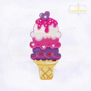 Love Ice Cream Cone Embroidery Design
