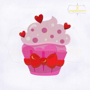 Valentine's Day Ice Cream Cupcake Embroidery Design
