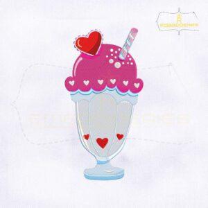 Lovely Ice cream Milkshake Embroidery Design