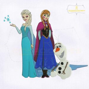 Frozen Princess Elsa Anna with Olaf Embroidery Design