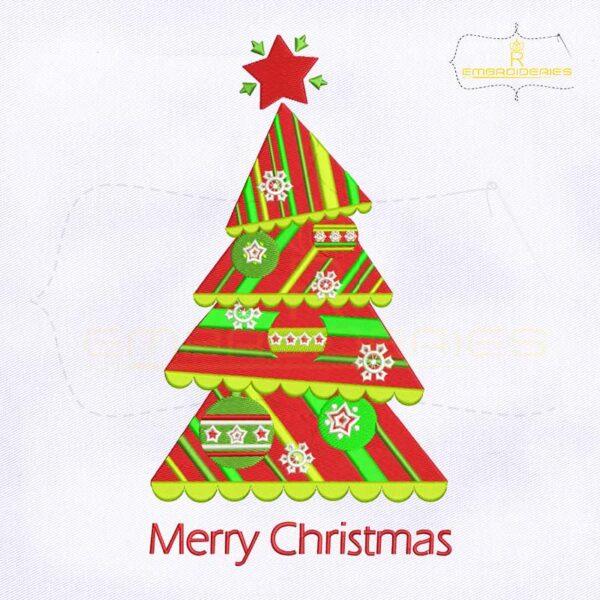 Chevron Striped Split Christmas Tree Embroidery Design