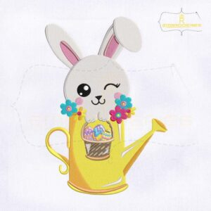 Eye Winking Bunny Easter Embroidery Design