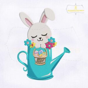 Easter Rabbit Watering Can Embroidery Design