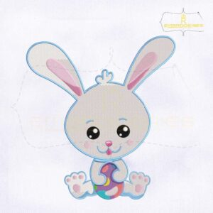 Easter Rabbit Holding Egg Embroidery Design