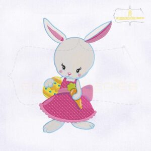 Little Miss Bunny Easter Machine Embroidery Design