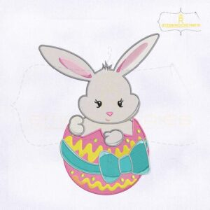 10781-18 Easter Bunny Inside Egg Machine Embroidery Design