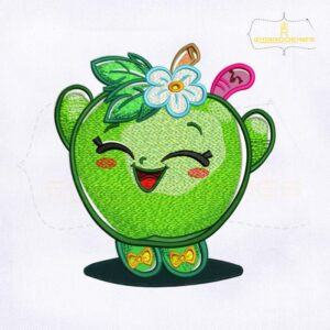 Happy Shopkins Green Apple Blossom Embroidery Design