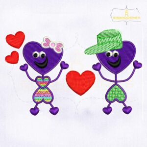 Cute and Lovely Best Friends Embroidery Design