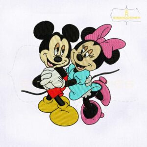 Cute Couple Dancing Mickey And Minnie Embroidery Design