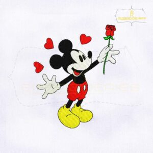 Mickey Mouse With Flower Embroidery Design