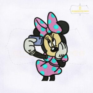 Beautiful Minnie Mouse Selfie Embroidery Design