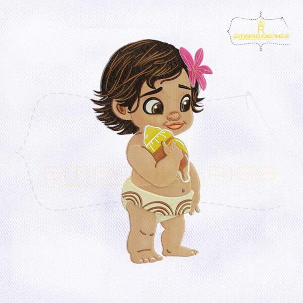 Cute Baby Princess Moana Embroidery Design