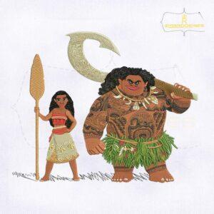 Lovely Maui Wikia And Moana Princess Embroidery Design