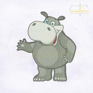 Beautiful Grey Hippo Embroidery Design