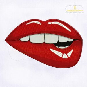 Biting Lips Embroidery Design