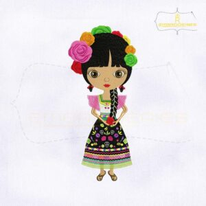 Attractive Mexican Girl Embroidery Design