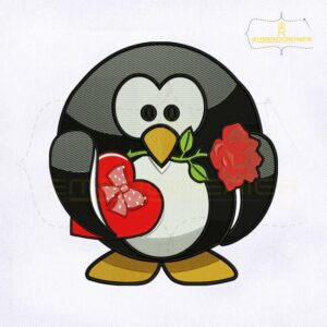 Beautifull Valentine Penguin Embroidery Design