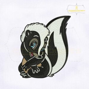 Bambi Flower Skunk Digital Embroidery Design