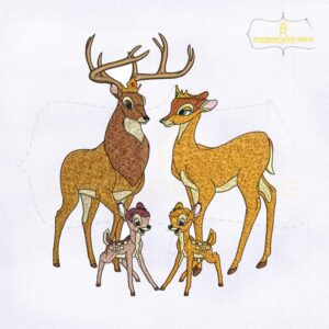 Bambi Family Embroidery Design