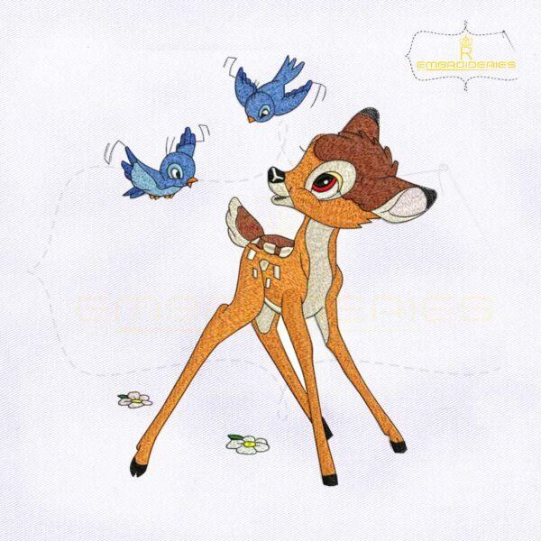 Fun and Playful Bambi Embroidery Design