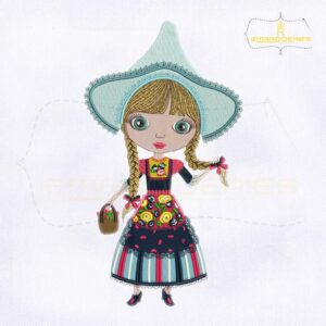 The Artistic Piece Of Holland Girl Embroidery Design