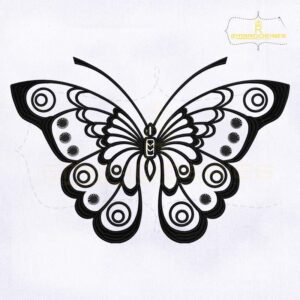 Black and White Butterfly Embroidery Design