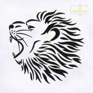 Roaring Lion Head Embroidery Design
