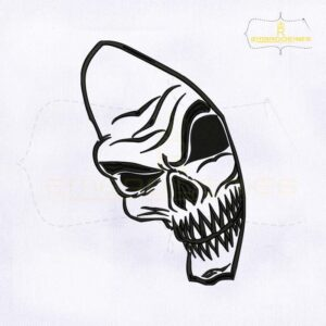 Creative Skeleton Face Machine Embroidery Design