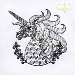 Decorative Unicorn Line Art Embroidery Design