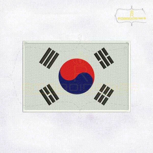 South Korea Flag Machine Embroidery Design