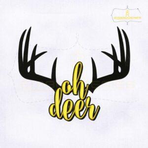 Ohh Deer Antler Monogram Embroidery Design