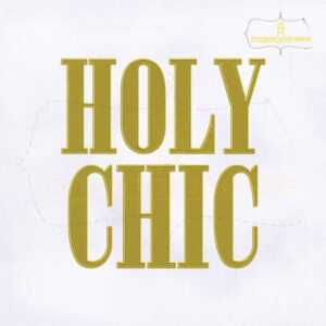 American flat Gold Holy Chic Embroidery Design